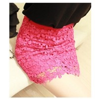 Lace with Floral Pattern Mini Skirt in Pink [5080]