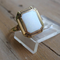 Opal Ring 10k art deco vintage yellow gold October birthstone square rectangle