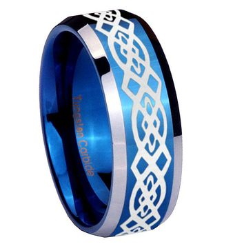 10mm Celtic Knot Beveled Edges Blue 2 Tone Tungsten Carbide Wedding Bands Ring