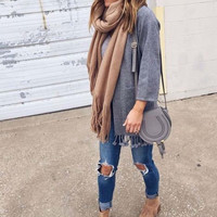 Marley Fringe Sweater in Gray