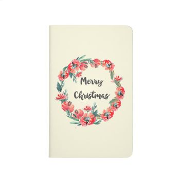 Merry Christmas Red Floral Watercolor Wreath Journal