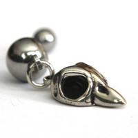 Baby Bird Skull Belly Button Ring in White Bronze by mrd74 on Etsy