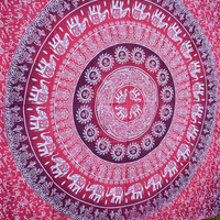 MyNelo Apoorva's Pink Ombre Mandala Tapestry, Hippy Throw Mandala Tapestry Indian Wall Hanging, Tapestry, Bohemian, Tapestries, Queen Bedsheet Bedspread Hippie.