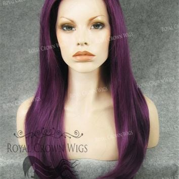 """24"""" Heat Safe Synthetic Straight Texture Lace Front """"Aphrodite"""" in Royal Purple"""