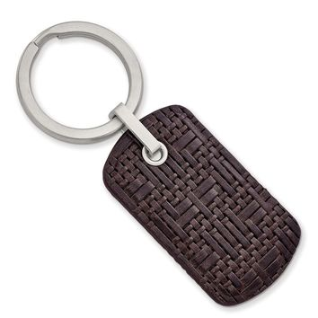 Stainless Steel Brushed Brown Woven & Stitched Leather Key Ring