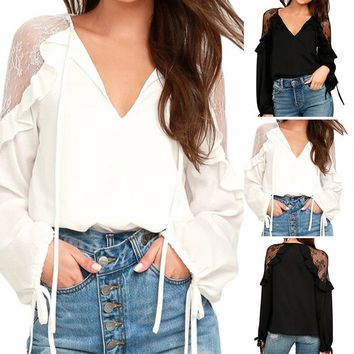 Ladies Lantern Sleeve Lace Croceht Shirt Tops Frill Hollow Out Deep V Blouse
