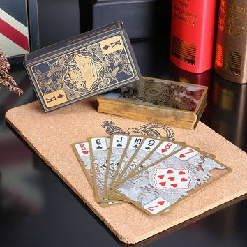55pcs set waterproof transparent pvc plastic poker gold edge playing cards dragon card novelty high quality gift