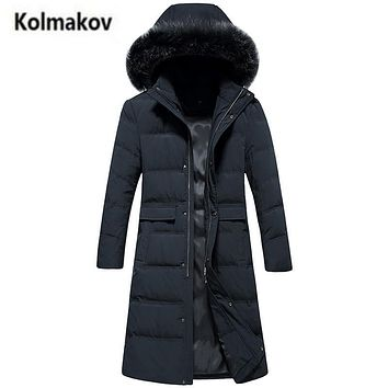KOLMAKOV 2017 winter new arrival High-quality men's long down jacket parkas,casual hooded Real fur collar white duck down coats.