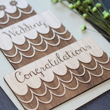 Wedding Congratulations Card - Wood Wedding Cake Card