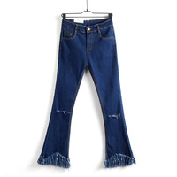 Summer Cropped Pants Tassels High Rise Slim Jeans [4920627204]