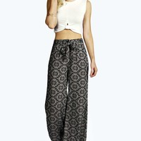 Lia Tie Waist Printed Woven Wide Leg Trousers