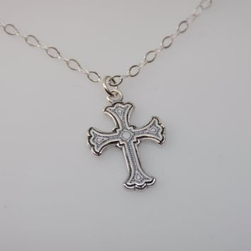 Cross Necklace. Small Cross Necklace. Christening Gift. Baptism Gift, Baptism Necklace