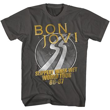 Bon Jovi T-Shirt Slippery When Wet World Tour Smoke Tee