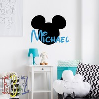Personalized Name Wall Decal Mickey Mouse Ears Custom Decals Cartoon Vinyl Stickers Nursery Kids Boys Baby Room Wall Art Children Decor M062