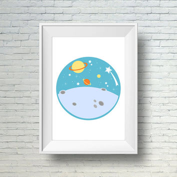 Baby Boy Nursery Wall Art, Outer Space Nursery Decor, Boys Wall Art Print, Space Decor, Baby Boy Art, Space Wall Art, Boy Nursery Wall Print