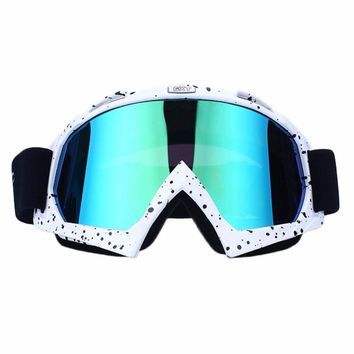 PU Skiing Snowboard Goggles Double Lens Anti-UV Ski Goggles Protective Sunglasses White/Black