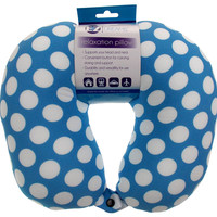 Neck Support Air Car Travel Pillow Blue Polka Dots Microbeads Relaxation Squishy
