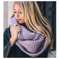 """I'm Never Cold"" XL Thick Chunky Knit Rose Infinity Scarf"