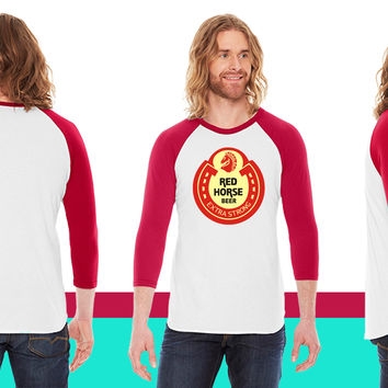 Red Horse Beer American Apparel Unisex 3/4 Sleeve T-Shirt
