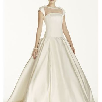 Oleg Cassini Satin Cap Sleeve Beaded Wedding Dress - Davids Bridal