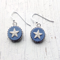 Broken China Jewelry /Wedgwood Star Earrings/ Wedgewood Jasper Ware/Blue and White