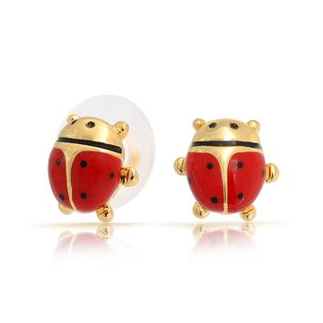 Red Garden Insect Ladybug Stud Earrings Silver 14K Gold Plated