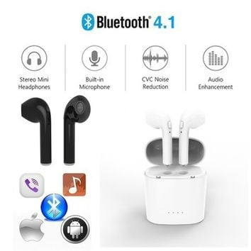 HBQ I7 TWS Twins Wireless Earbuds Mini Bluetooth Headset Earphone with Charging Case for Iphone 7 6s 6 Plus SE Galaxy S8 Plus