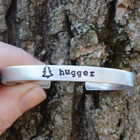 Tree Hugger Cuff Bracelet . Gifts for Hikers Campers Backpackers . Hippie Jewelry . Under 25 . Wilderness . Travelers . Explorers