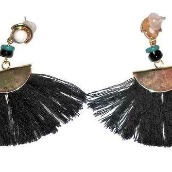 "Black Silk Tassel Fan Gold Tone Fashion 3"" Earrings"
