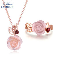 LAMOON 925 Sterling Silver Jewelry Set Flower Rose Ring Necklace Natural Rose Quartz Fashion Jewelry Sets
