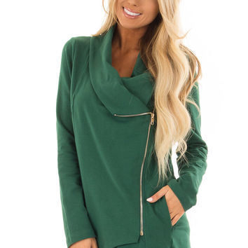 Hunter Green Asymmetrical Zip Up Jacket with Wide Cowl Neck