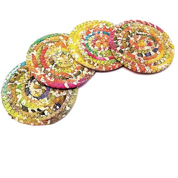 Multicolor Fabric Coasters, Bright & Sunny, Handmade, Set of 4, Made to Order
