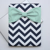 MacBook Pro / Air Case, Laptop Sleeve - Navy and White Chevron Mint Bow - Double Padded - Sized to Fit Any Brand