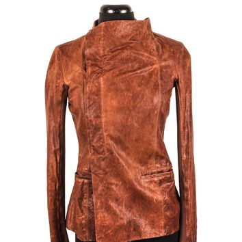Rick Owens Distressed Leather Jacket with Draped Lapel