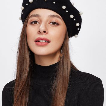 Faux Pearl Beret Hat BLACK