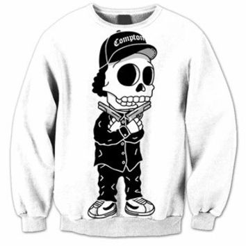 Compton Bart Simpson Skeleton White & Black Sweatshirt