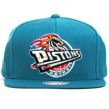 Detroit Pistons Mustang Logo Wool Solid Snapback Teal