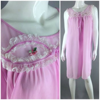 Vintage 60s nightie Man Men Sheer nightie Pink nightgown pajamas lingerie negligee pj's night Dress night Gown M