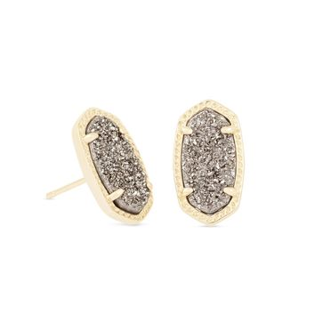 Kendra Scott Ellie Platinum Drusy Gold Earrings