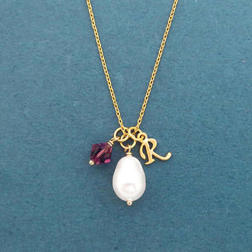 Personalized, Initial, Birthstone, Pear, White, Pearl, Gold, Silver, Necklace, Birthday, Best friends, Lovers, Gift, Jewelry