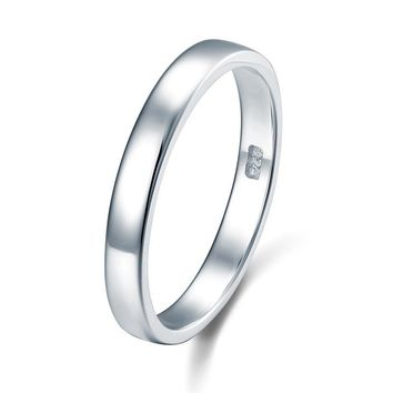 Classic Plain Solid Sterling Silver Wedding Band