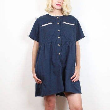 Vintage 1990s Dress Navy Blue White Eyelet Lace Trim Babydoll Dress Cotton Lolita Soft Grunge Dress 90s Shirt Dress Uniform M Medium L Large