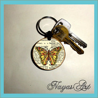 Butterfly Keyring, Butterfly KeyChain, Insect Key Chain, Insect Keyring, Personalised Keychain, Butterfly Gifts. Initial Keychain Wooden Key