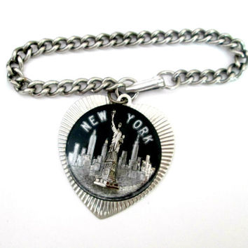 Statue of Liberty New York City Heart Charm Bracelet
