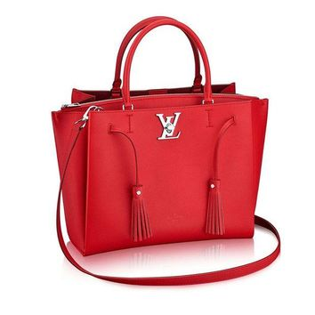 ONETOW Louis Vuitton Calfskin Leather Tote Handbag Lockme Tote Rubino Article: M54570 Made in France
