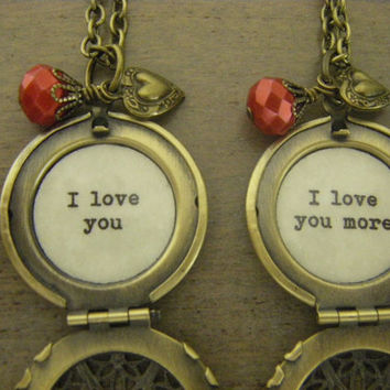 Mother Daughter Lockets I love you and I love you more set of two matching valentine's day inscribed jewelry
