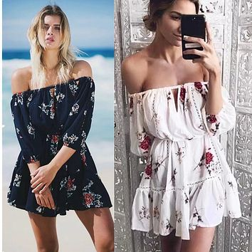 Off Shoulder 3/4 Sleeves Print Short Beach Dress