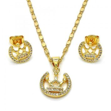 Gold Layered 10.195.0041 Necklace and Earring, Crown Design, with White Micro Pave, Polished Finish, Golden Tone