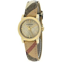 Burberry Champagne Dial Haymarket Check Fabric Ladies Watch Burberry BU9219
