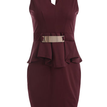 Sleeveless V Neck Bodycon Peplum Dress LAVELIQ